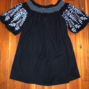 Zara Navy off-shoulder dress